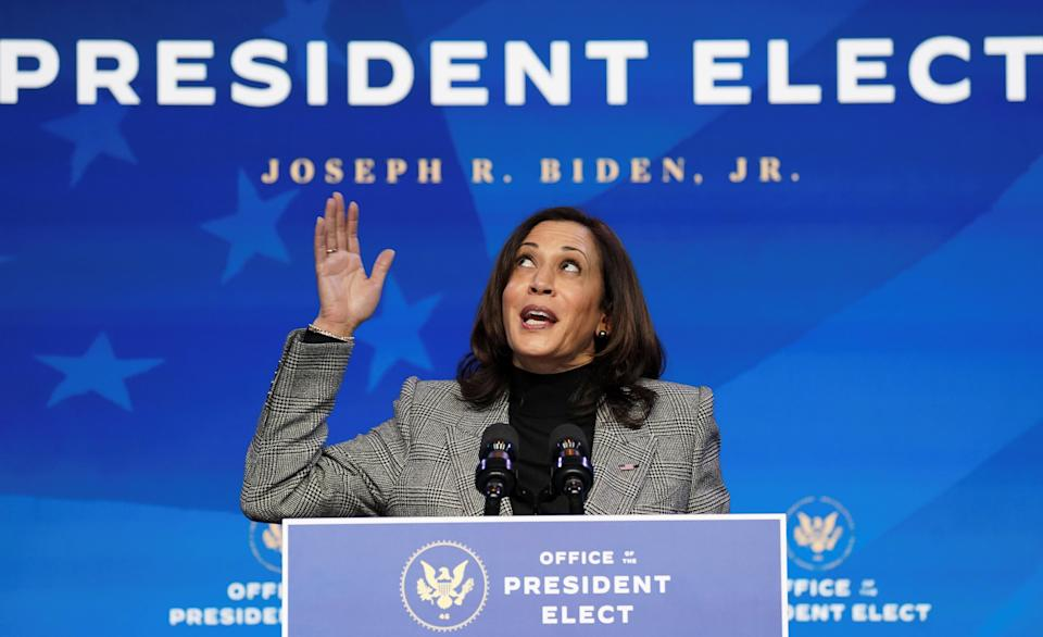 <p>Vice President-elect Kamala Harris, who will be sworn in on Wednesday by the country's first Latina justice.</p> (REUTERS)