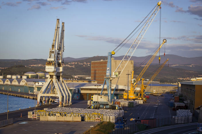 "Cranes are seen in the port of Koper, Slovenia, Tuesday, Sept. 25, 2012. Once the envy of the former European communist states because of its booming economy and Western-style living standards, Slovenia is becoming a showcase of failed transition, government mismanagement and bad loans. Andrej Plut has always thought he was fortunate to live in Slovenia, at one time the most prosperous of the former republics of Yugoslavia and a star among the eastern European states that joined the EU after the fall of communism. The 55-year-old dentist can't figure out what went wrong with his tiny Alpine state, which now faces one of the worst recessions and financial system collapses among the crisis-stricken 17-country group that uses the euro. ""We used to live so well,"" Plut said. ""Now, we don't know what tomorrow brings."" (AP Photo/Darko Bandic)"