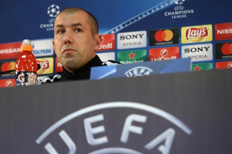Monaco coach Leonardo Jardim pictured during a press conference in Monaco on March 14, 2017, the eve of their Champions League last 16 second leg against Manchester City