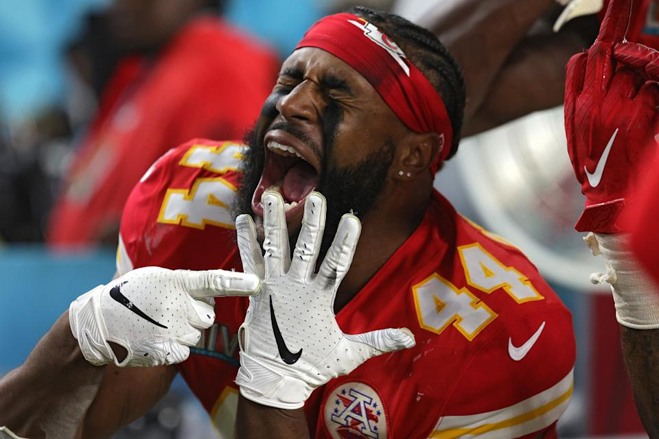 MIAMI, FLORIDA - FEBRUARY 02: Dorian O'Daniel #44 of the Kansas City Chiefs celebrates after defeating the San Francisco 49ers in Super Bowl LIV at Hard Rock Stadium on February 02, 2020 in Miami, Florida. (Photo by Jamie Squire/Getty Images)