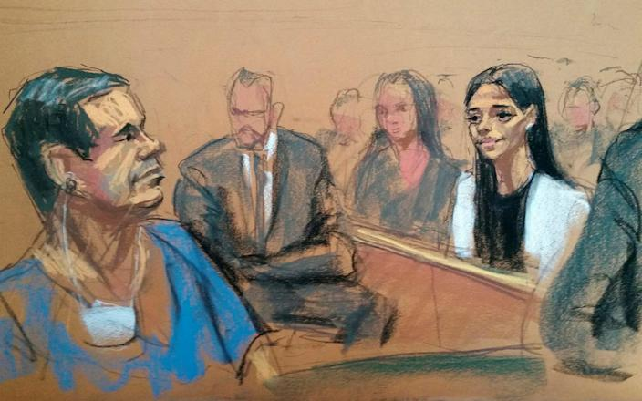 Court sketch of El Chapo and his wife Emma Coronel - REUTERS/Jane Rosenberg