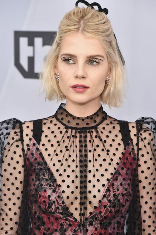 <p>Lucy Boynton has worn the trend numerous times; here, she wore a floating crease shape above her eyes.</p>