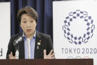 """Japan's Olympics Minister Seiko Hashimoto speaks during a press conference at the cabinet office in Tokyo, on Sept. 19, 2019. Japan's Kyodo news agency, citing a source """"familiar with the matter,"""" said Wednesday, Feb. 17, 2021, a selection committee will ask Hashimoto to become the new president of the Tokyo Olympic organizing committee. Hashimoto, who could be named this week, would replace Yoshiro Mori who was forced to resign last week after he made demeaning comments about women — basically saying they talk too much.(Kyodo News via AP)"""