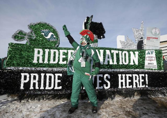 A Saskatchewan Roughriders fan arrives in costume for the CFL's 101st Grey Cup championship football game in Regina, Saskatchewan November 24, 2013. REUTERS/Mark Blinch (CANADA - Tags: SPORT FOOTBALL)