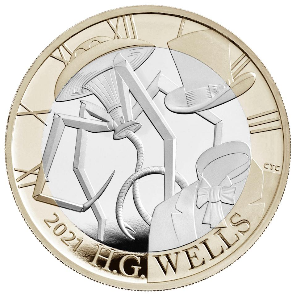 EMBARGOED TO 0001 MONDAY JANUARY 04 Undated handout photo issued by the Royal Mint of a new GBP 2 coin commemorating the life and work of H G Wells which is part of a range of new designs that will be appearing on British coins throughout 2021.