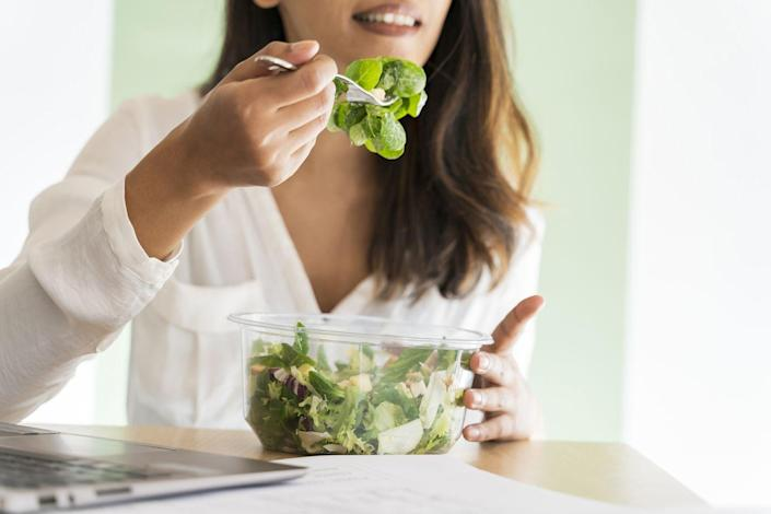 """<p>If you're not WFH, picking up lunch from the to-go spot by the office is an easy choice—but those $12 grain bowls add up fast. You can save a lot of money by <a href=""""https://www.cosmopolitan.com/food-cocktails/a42445/packed-lunch-ideas-for-work/"""" rel=""""nofollow noopener"""" target=""""_blank"""" data-ylk=""""slk:making food at home"""" class=""""link rapid-noclick-resp"""">making food at home</a> and bringing it with you. (This fits nicely with tip #6 about meal prepping.)</p>"""