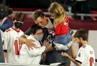 Tom Brady celebrates with his family after defeating the Kansas City Chiefs in Super Bowl LV at Raymond James Stadium on February 07, 2021 in Tampa, Florida. (Photo by Kevin C. Cox/Getty Images)