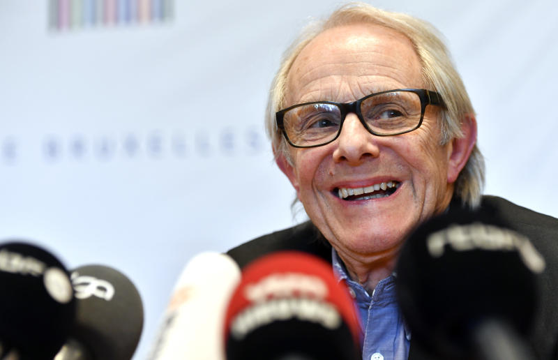 British director Ken Loach participates in a media conference prior to receiving an honorary degree from the Brussels ULB university in Brussels on Thursday, April 26, 2018. The university has come under criticism alleging it was too tolerant by awarding Loach an honorary doctorate, since the director has been accused in the past of anti-Semitism. (AP Photo/Geert Vanden Wijngaert)