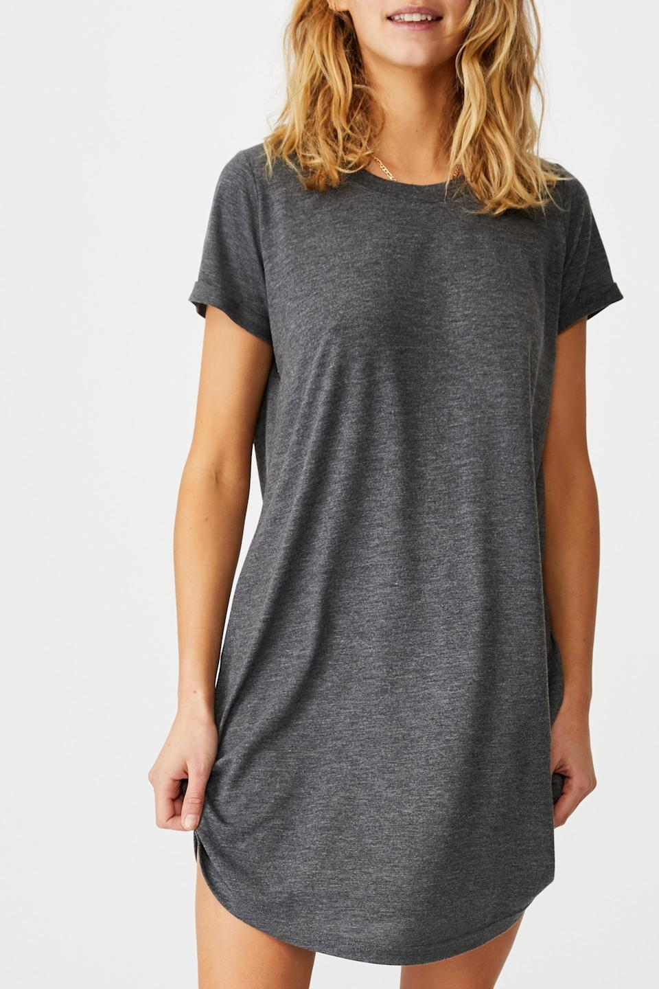"""<h2>Cotton On Cotton T-Shirt Dress</h2><br>Cotton On's Tina T-shirt dress is the all-year-round closet staple that frugal shoppers need in their wardrobe. Its slouchy fit lets you breathe in the summer heat and makes room for thick cozy layers in the winter. Cash in on tons of looks with just one $15 dress that'll take you from bed to couch and beyond. <br><br><em>Shop <strong><a href=""""https://cottonon.com/US/"""" rel=""""nofollow noopener"""" target=""""_blank"""" data-ylk=""""slk:Cotton On"""" class=""""link rapid-noclick-resp"""">Cotton On</a></strong></em><br><br><strong>Cotton On</strong> Tina T-shirt Dress, $, available at <a href=""""https://go.skimresources.com/?id=30283X879131&url=https%3A%2F%2Fcottonon.com%2FUS%2Ftina-tshirt-dress-2%2F248600-307.html"""" rel=""""nofollow noopener"""" target=""""_blank"""" data-ylk=""""slk:Cotton On"""" class=""""link rapid-noclick-resp"""">Cotton On</a>"""