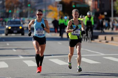Athletics - New York City Marathon - New York City, New York, U.S. - November 4, 2018 Angela Ortiz and Eva Vail of the U.S. in action during the Professional Women's race REUTERS/Caitlin Ochs