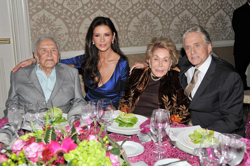 (L-R) Kirk Douglas, Catherine Zeta Jones, Anne Douglas and Michael Douglas at The Los Angeles Mission Legacy Of Vision Gala held at the Four Seasons Hotel Los Angeles in Beverly Hills, CA on Thursday, November 9 , 2017. (Photo By Sthanlee B. Mirador/Sipa USA)