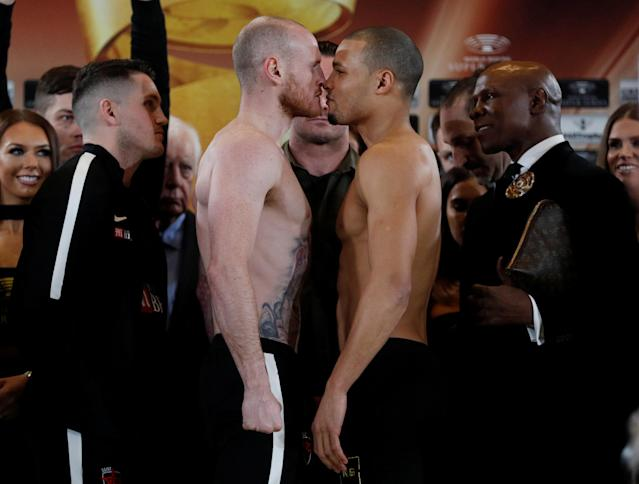 Boxing - George Groves & Chris Eubank Jr Weigh-In - Hilton Deansgate, Manchester, Britain - February 16, 2018 George Groves and Chris Eubank Jr as trainer Shane McGuigan and Chris Eubank look on during the weigh in Action Images via Reuters/Lee Smith