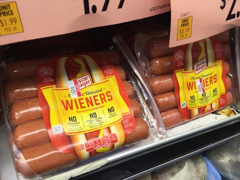 In this Wednesday, June 28, 2017, photo, Oscar Mayer classic uncured wieners are for sale at a grocery store in New York. Oscar Mayer is touting its new hot dog recipe that uses nitrite derived from celery juice instead of artificial sodium nitrite, which is used to preserve the pinkish colors of processed meats and prevents botulism. Kraft Heinz, which owns Oscar Mayer, says sodium nitrite is among the artificial ingredients it has removed from the product to reflect changing consumer preferences. The change comes amid a broader trend of big food makers purging ingredients that people may feel are not natural. (AP Photo/Candice Choi)