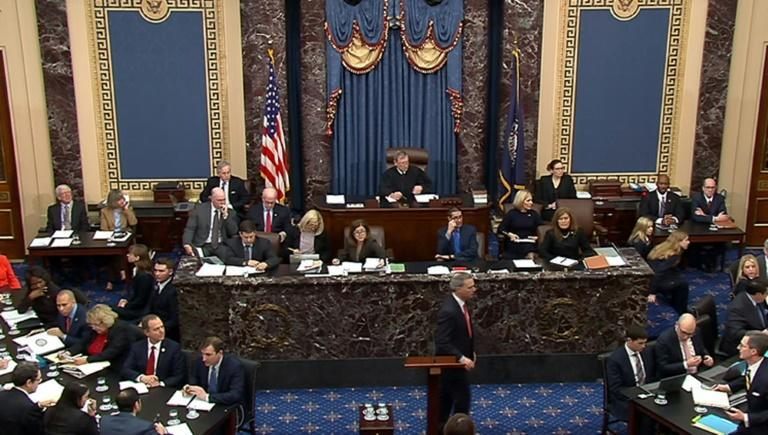 US Supreme Court Chief Justice John Roberts (C) presides over the Senate impeachment trial of President Donald Trump (AFP Photo/HO)