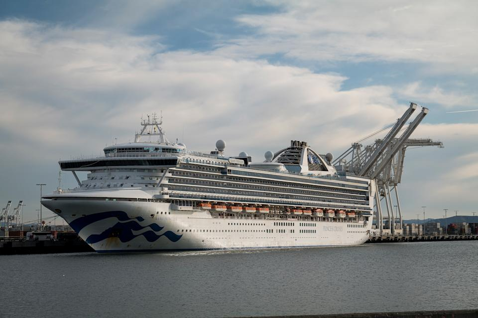 The Carnival Corp. Grand Princess cruise ship sits docked at the Port of Oakland in Oakland, California, U.S., on Monday, March 9, 2020. Photo: David Paul Morris/Bloomberg