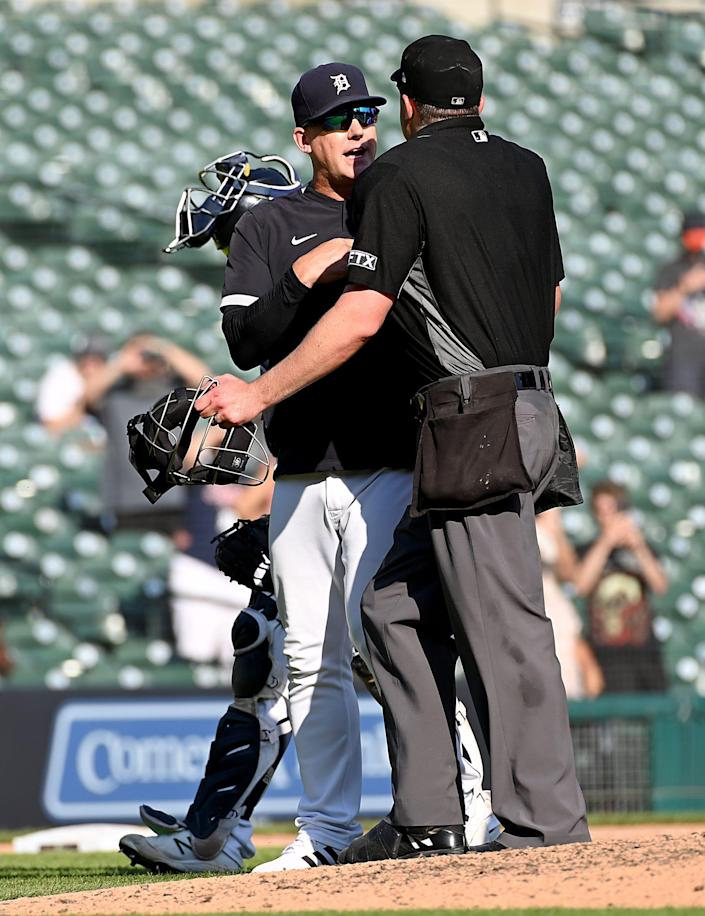 Tigers manager AJ Hinch argues with an umpire after a bench-clearing scrum with the White Sox in the ninth inning of the Tigers' 8-7 loss on Monday, Sept. 27, 2021, at Comerica Park.