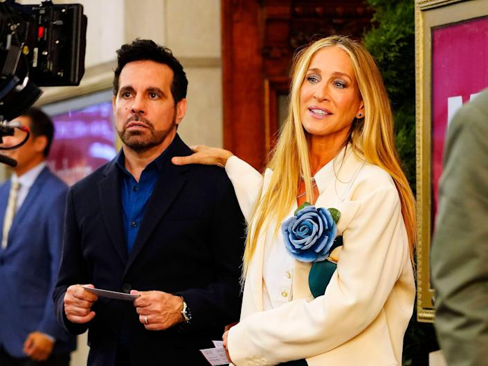 """Mario Cantone and Sarah Jessica Parker during filming of """"And Just Like That..."""""""