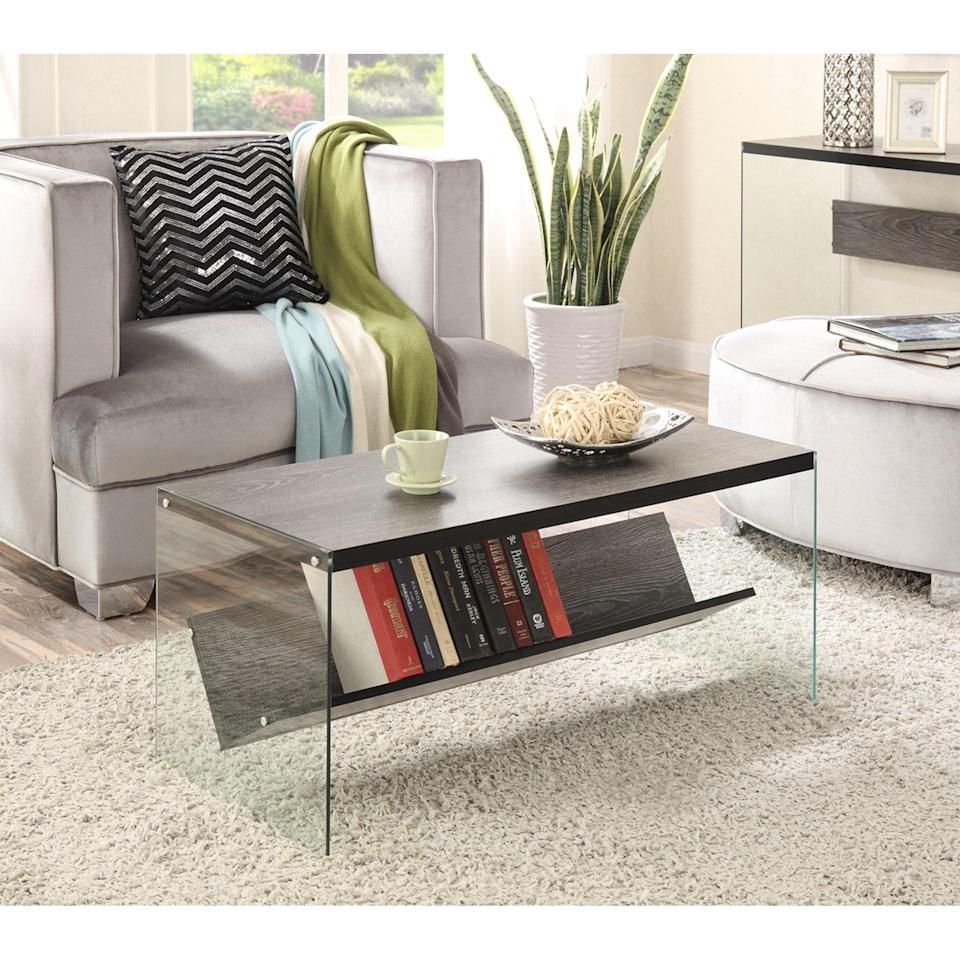 <p>You can display all your favorite books or magazines on this <span>Convenience Concepts Soho Coffee Table</span> ($95). It has a sculptural look that would make people think you bought it from a gallery.</p>