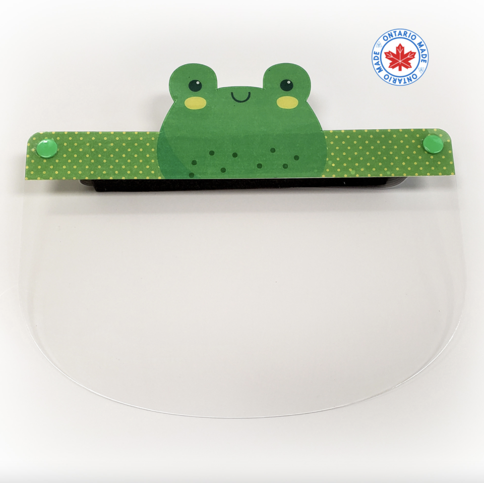 kids protective face shield with frog detail for back to school