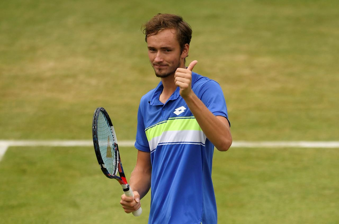 Tennis - Aegon Championships - Queen's Club, London, Britain - June 22, 2017   Russia's Daniil Medvedev celebrates winning his second round match against Australia's Thanasi Kokkinakis   Action Images via Reuters/Tony O'Brien