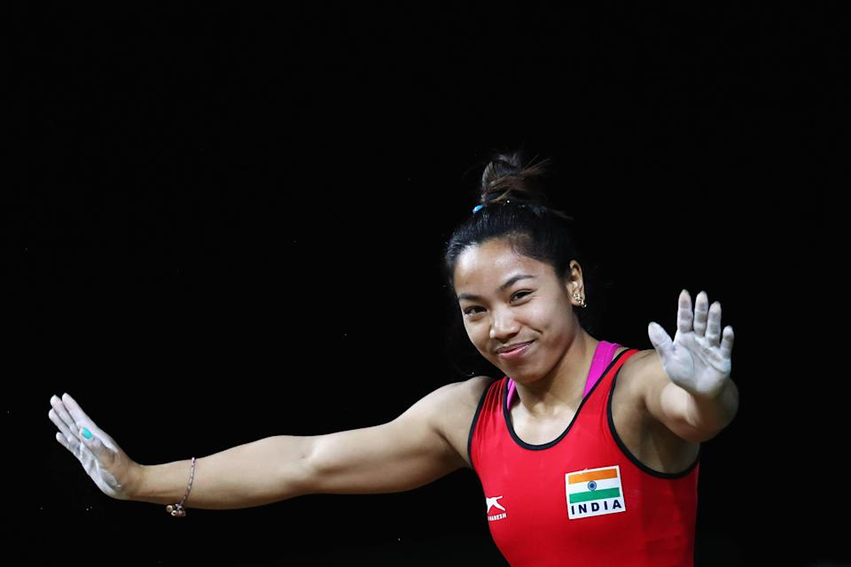 Gold medalist Chanu Saikhom Mirabai of India competes during the Weightlifting Women's 48kg Final at the Gold Coast 2018 Commonwealth Games (Getty Images)