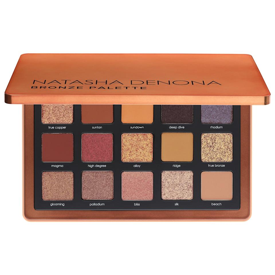 "<p>The warm, shimmery hues in this <product href=""https://www.sephora.com/product/natasha-denona-bronze-eyeshadow-palette-P459829?icid2=products%20grid:p459829"" target=""_blank"" class=""ga-track"" data-ga-category=""internal click"" data-ga-label=""https://www.sephora.com/product/natasha-denona-bronze-eyeshadow-palette-P459829?icid2=products%20grid:p459829"" data-ga-action=""body text link"">Natasha Denona Bronze Eye Shadow Palette </product> ($65) are gorgeous.</p>"