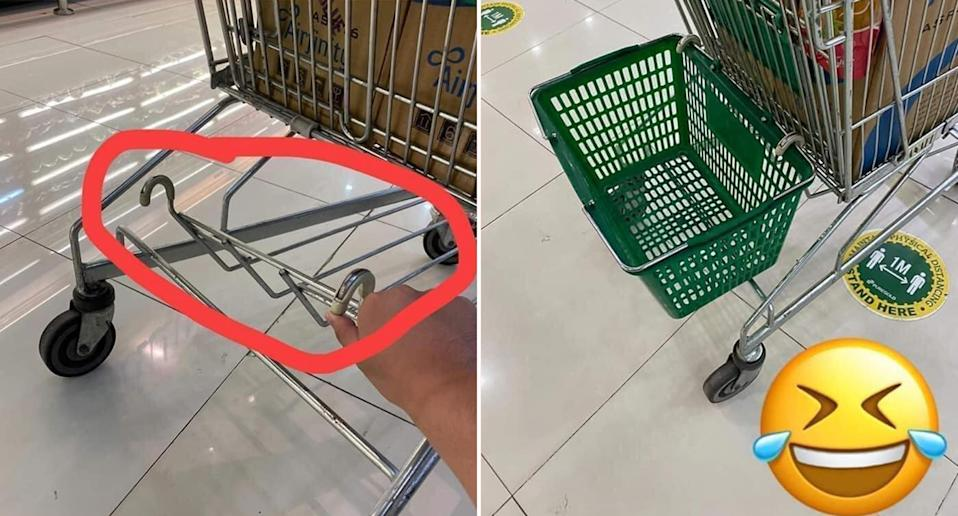 Left a shopper is seen pointing to a bar under a trolley. Right is the basket hooked onto the back of the trolley.