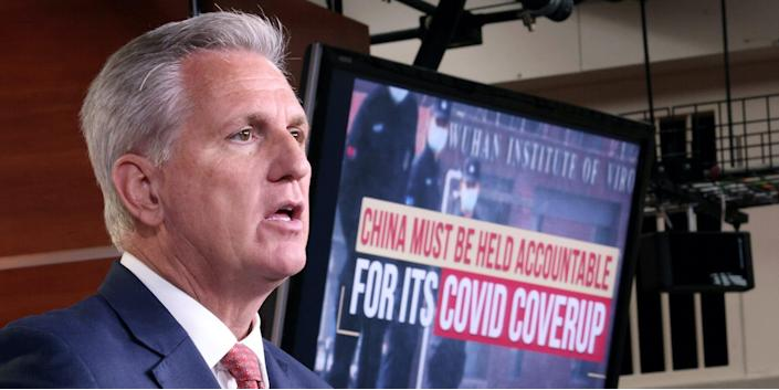 House Minority Leader Kevin McCarthy (R-CA) speaks during a press conference at the U.S. Capitol June 23, 2021 in Washington, DC. McCarthy and other members of the House Republican caucus called for a congressional inquiry into China's role in the origins of the COVID-19 virus.