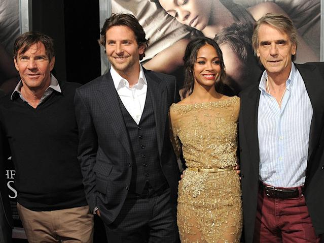 <p><em><em>Dennis Quaid, Bradley Cooper, Saldana and Jeremy Irons attend the premiere of <em>The Words</em> on Sept. 4, 2012, in Los Angeles, Calif. (Photo: Jordan Strauss/AP) </em></em></p>