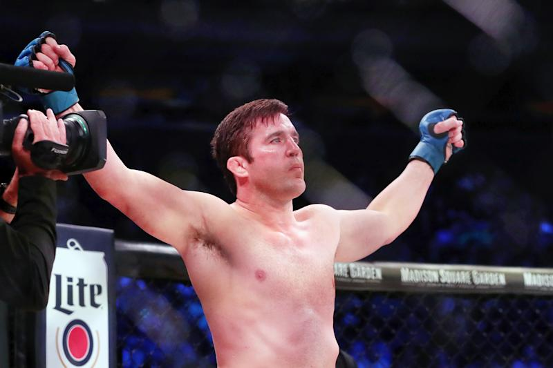 Jun 14, 2019; New York, NY, USA; Chael Sonnen is introduced before his fight against Lyoto Machida (not pictured) during Bellator 222 at Madison Square Garden. Machida won the fight. Mandatory Credit: Ed Mulholland-USA TODAY Sports