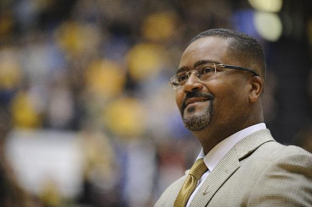 Frank Haith watches the team introductions before Missouri takes on Oklahoma City in the Hearnes Center on Friday, Oct. 25, 2013. (AP Photo/Columbia Daily Tribune, Ryan Henriksen)