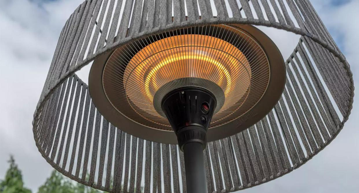 This heater features a modern rope design shade. (Kettler)
