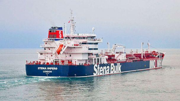PHOTO: This undated photo issued on July 19, 2019, by Stena Bulk, shows the British oil tanker Stena Impero at unknown location, which is believed to have been captured by Iran. (Stena Bulk/AP, FILE)