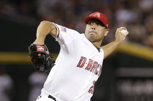 Arizona Diamondbacks relief pitcher Jorge De La Rosa (29) in the first inning during a baseball game against the St. Louis Cardinals, Wednesday, July 4, 2018, in Phoenix. (AP Photo/Rick Scuteri)