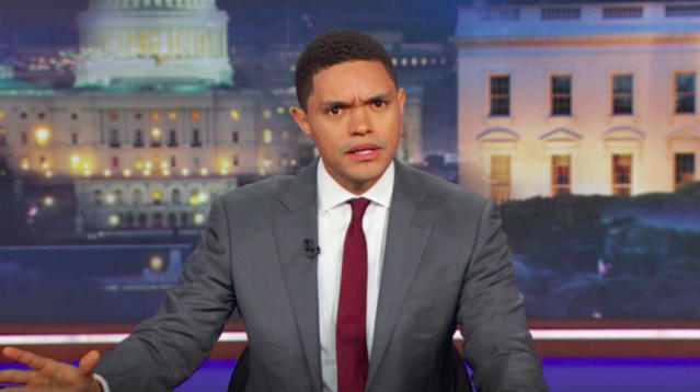 Trevor Noah has lived in America for only two years but he's witnessed news coverage of so many mass shootings that he can now predict the country's response.