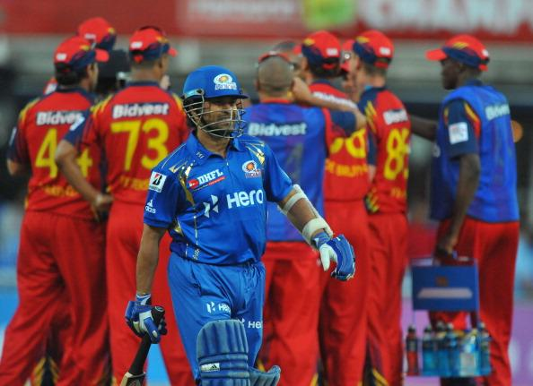JOHANNESBURG, SOUTH AFRICA - OCTOBER 14:  Sachin Tendulkar of Mumbai walks off after being dismissed for 16 runs during the Karbonn Smart CLT20 match between bizhub Highveld Lions and Mumbai Indians at Bidvest Wanderers Stadium on October 14, 2012 in Johannesburg, South Africa. (Photo by Duif du Toit / Gallo Images/Getty Images)