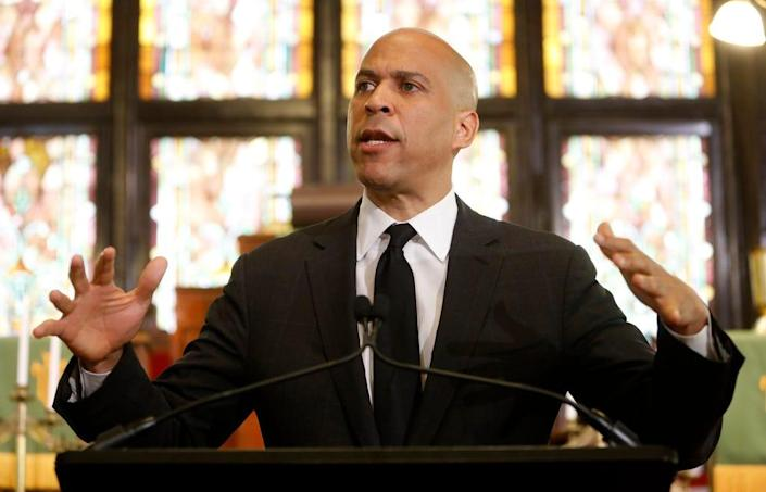 Democratic presidential candidate, Sen. Cory Booker, D-N.J., speaks about gun violence and white supremacy in the sanctuary of Mother Emanuel AME on Wednesday, Aug. 7, 2019, in Charleston, S.C. (AP Photo/Mic Smith) ORG XMIT: SCMS102