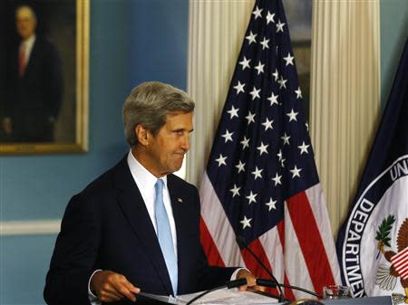 U.S. Secretary of State John Kerry speaks about the situation in Syria at the State Department in Washington, August 30, 2013. REUTERS/Larry Downing