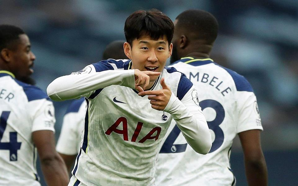 Tottenham's Son Heung-min celebrates after scoring the 1-0 lead during the English Premier League soccer match between Tottenham Hotspur and West Ham United - Shutterstock