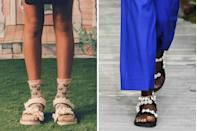 <p>Say hello to the camp counselor's signature shoe silhouette. These fresh takes on tech-y Velcro sandals are less granola and more girly than they have ever been. Anna Sui (<em>left</em>) paired lacy versions with equally feminine socks while Jason Wu (<em>right</em>) showed ones with pearl embellishments.</p>