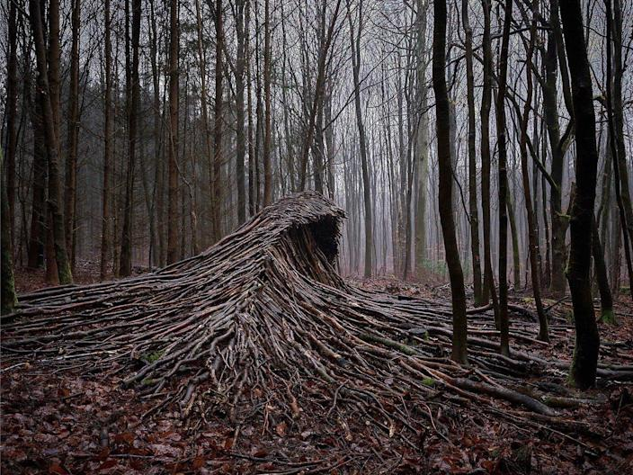 Cresting wooden waves assembled by photographer Jörg Gläscher during the COVID-19 lockdowns of 2020.