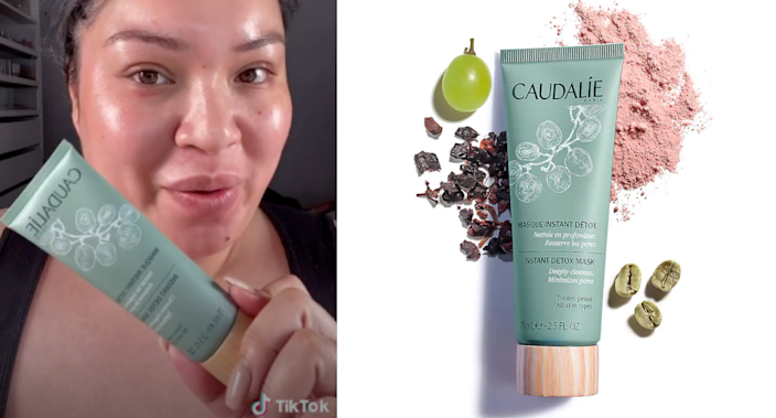 The Caudalie Instant Detox Mask is the latest beauty product to go viral on TikTok. Images via TikTok/Glamzilla, Sephora.