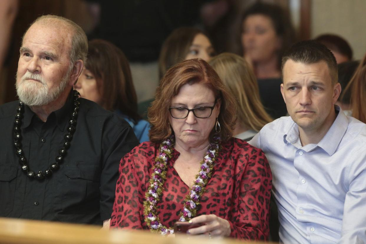 Larry Woodcock, from left, Kay Woodcock and Brandon Boudreaux attend the hearing for Lori Vallow Daybell on Friday, March 6, 2020, in Rexburg, Idaho.