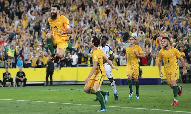 Mile Jedinak celebrates one of his three goals against Honduras in the Socceroos' final World Cup qualifier.