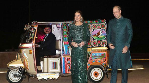 PHOTO: Catherine, Duchess of Cambridge and Prince William, Duke of Cambridge arrive by TukTuk as they attend a special reception hosted by the British High Commissioner Thomas Drew, at the Pakistan National Monument, Oct. 15, 2019, in Islamabad, Pakistan. (Chris Jackson/Getty Images)