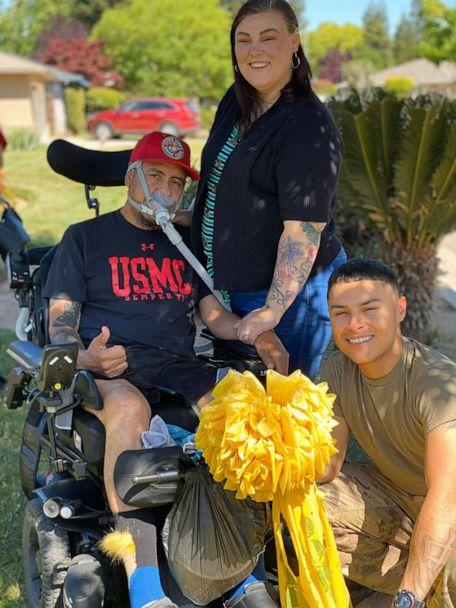 PHOTO: Jordan's homecoming was coordinated with the Salinas family, with help from the Red Cross, the VA and the Fresno Police Department. (Stephanie Ocegueda)