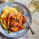 <p>Dive deliciously into the Mediterranean diet with this healthy fish recipe, which takes its inspiration from southern Italy. In Sicily and Calabria, the ghiotta style of cooking involves simmering fish or meat with celery, olives, capers, basil and tomatoes. Serve the fish and sauce over creamy polenta for an easy dinner recipe that requires just 20 minutes of active prep time.</p>