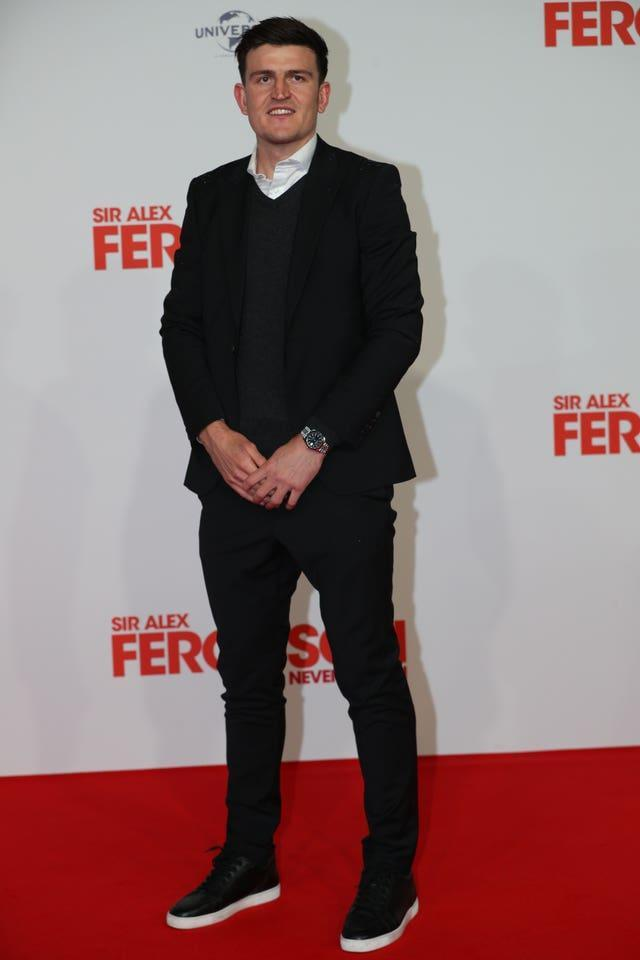 Harry Maguire was walking without crutches at the premiere of the 'Sir Alex Ferguson: Never Give In' documentary on Thursday