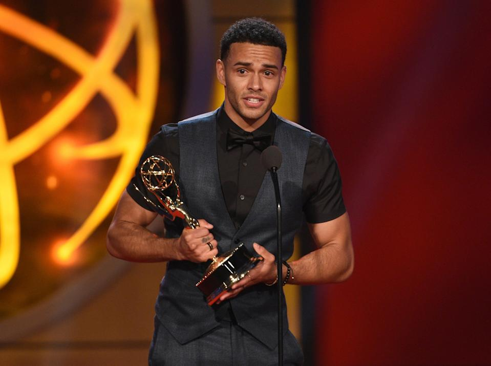 """Kyler Pettis receives the Daytime Emmy Award as outstanding younger actor in a drama series for """"Days of Our Lives."""""""