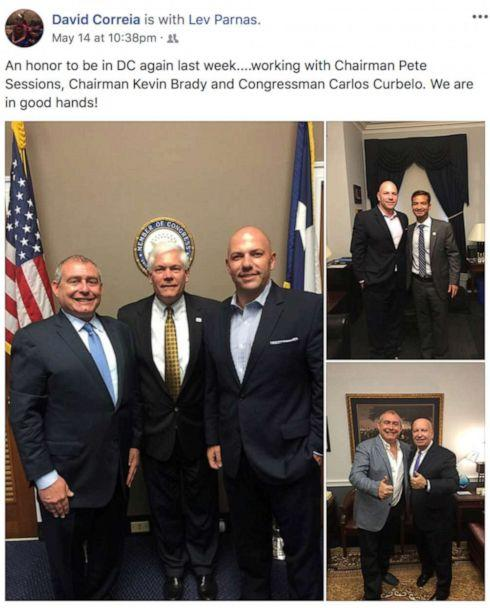 PHOTO: Ukrainian-American businessman Lev Parnas and businessman David Correia appear with former U.S. Rep. Pete Sessions (R-TX), Rep. Kevin Brady (R-TX) and former Rep. Carlos Curbelo (R-FL) in a 2018 screen capture from Correia's social media account. (David Correia/Social Media via the Campaign Legal Center via Reuters)